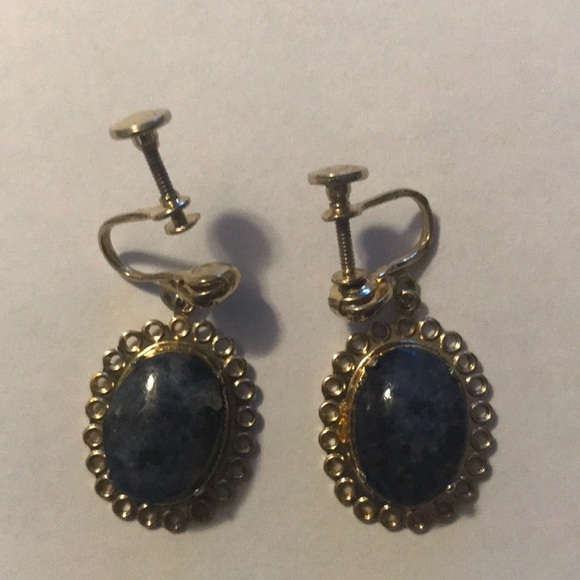d51bc4ab8 Jewelry   Vintage Screw Back Earrings Gold With Blue Stone   Poshmark